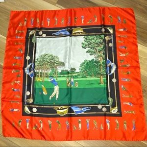 """Gucci Vintage Silk Scarf Golf Print made in Italy 34"""" square"""